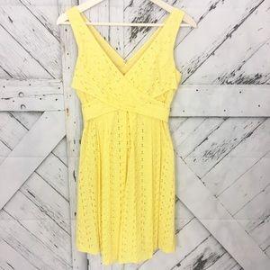 Nine West yellow eyelet lace sleeveless dress